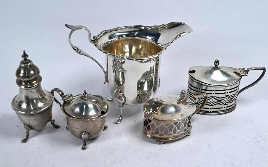Silver cream jug and various condiments - Image 2 of 6