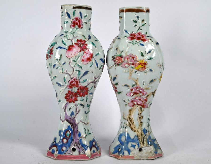 A pair of Chinese Yongzheng/Qianlong period famille rose vases - Image 2 of 5