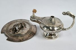 Edwardian silver 'Aladdin's Lamp' table lighter & silver cow on OSP cover