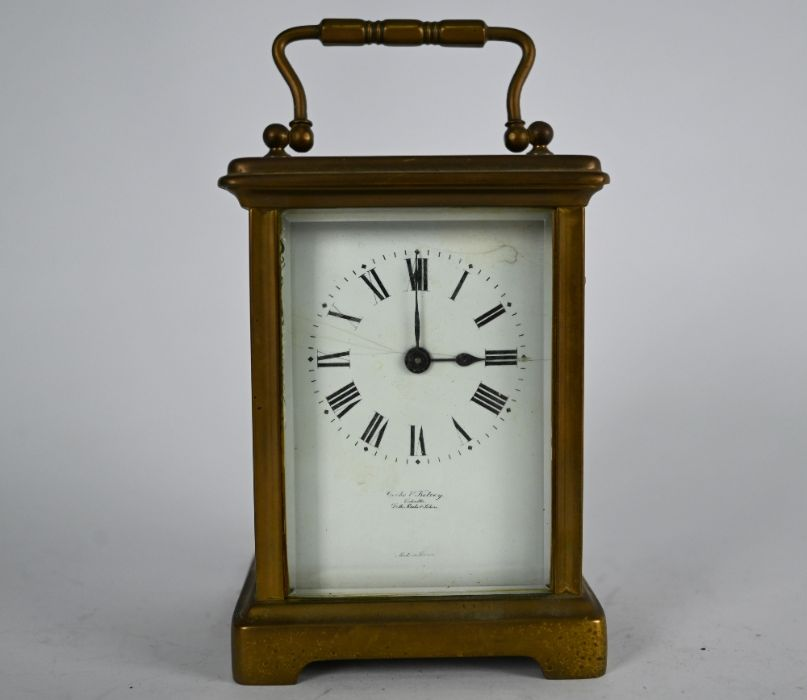 Clarke & Keley, Calcutta, a French brass cased single train carriage clock - Image 2 of 5