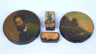 Two Stobwasser-type circular snuff-boxes and other items