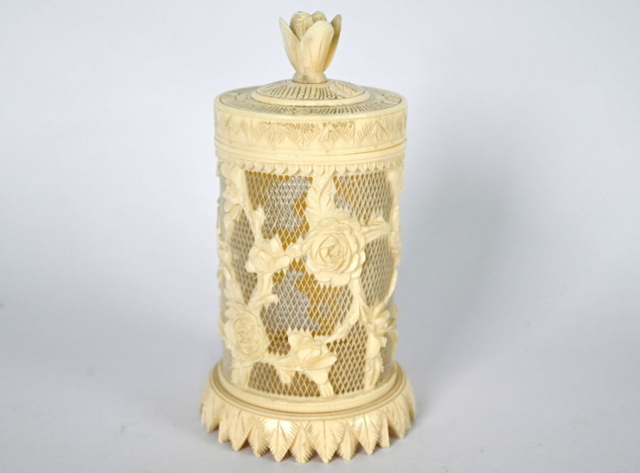 A Chinese ivory cricket cage and cover