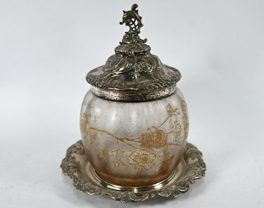 German .800 grade silver-mounted biscuit barrel on stand