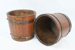 Two teak HMS Iron Duke planters/buckets (2)
