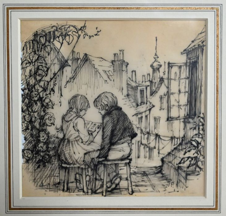 Shirley Hughes (b 1927) - pen and ink