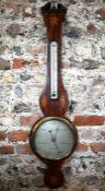D Martinelli, London, a Victorian inlaid mahogany barometer