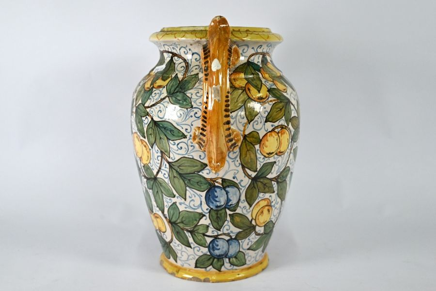 A large majolica decorative vase with twin scroll handles - Image 3 of 4