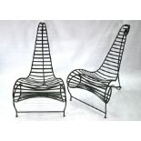 After Andre Dubreuil, a pair of verdigris patinated steel Spine chairs