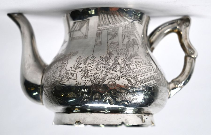 19th Century Chinese export silver tea pot & strainer - Image 2 of 8
