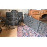 An Arts & Crafts wrought and cast iron fire basket etc.