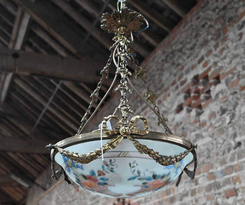 A hand painted French frosted glass brass mounted swag ceiling light - Image 2 of 4