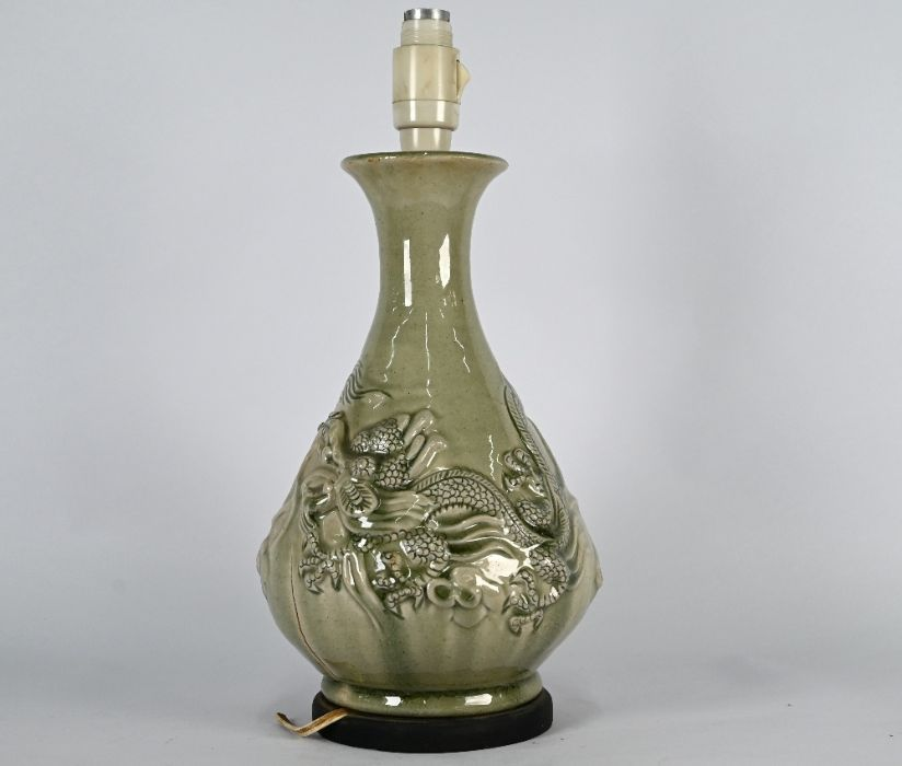 A Chinese celadon 'dragon' vase mounted as a lamp, 38 cm high - Image 2 of 4