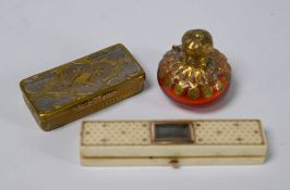 A Georgian ivory toothpick case and other items
