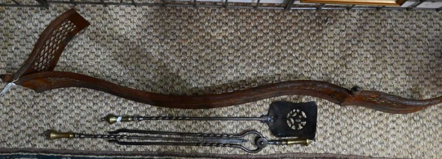 Set of fire irons and hearth fender - Image 2 of 2