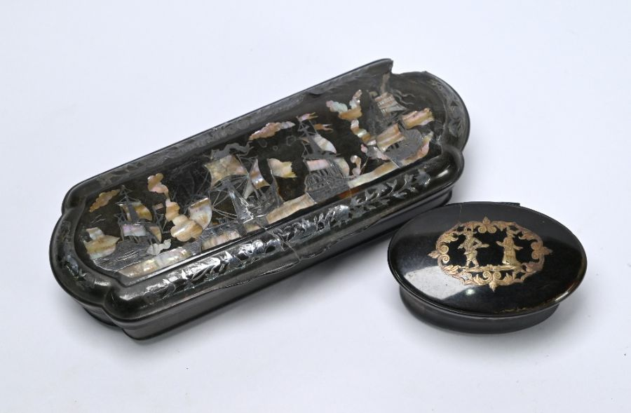 Two Continental tortoiseshell snuff boxes