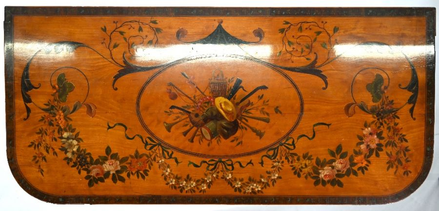A 19th century polychrome decorated satinwood card table in the Sheraton style - Image 5 of 17