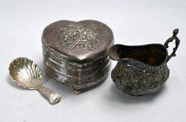 Silver heart-shaped trinket box, cream jug and caddy spoon