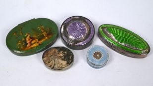 An antique base-metal oval pill box agate top and base and four other items