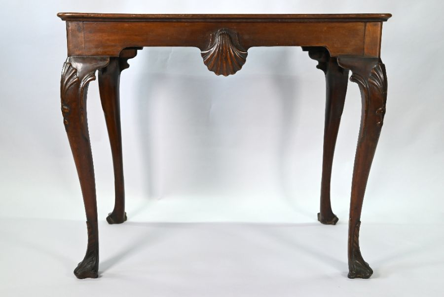 A George III mahogany shell carved silver table of Irish origin - Image 5 of 5