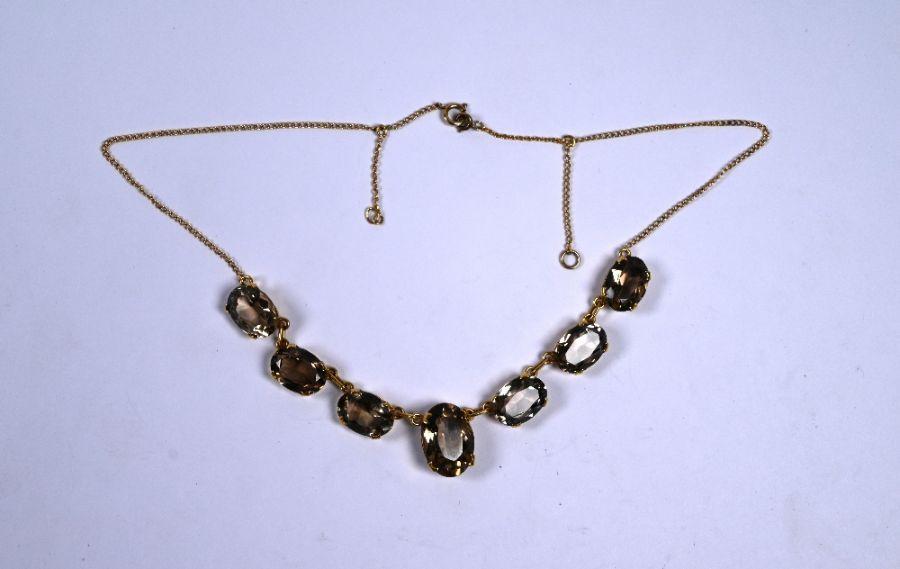 An Edwardian smokey quartz fringe necklace