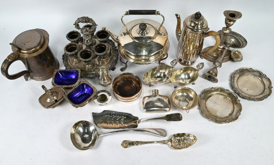 Plated on copper tankard inset with 1696 crown and other plated items