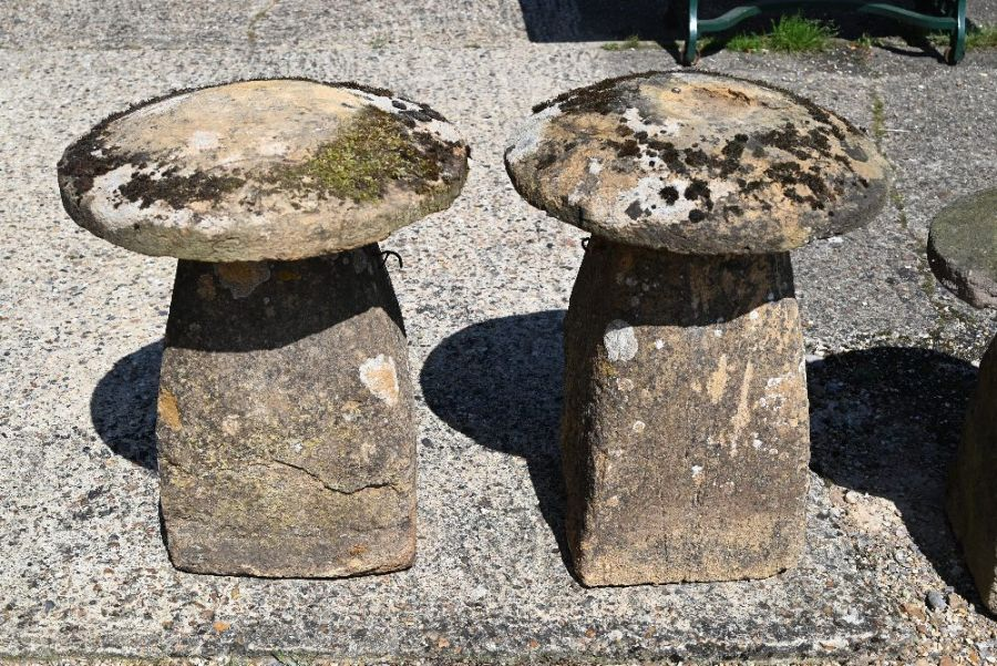 A pair of antique weathered staddle stones - Image 2 of 3