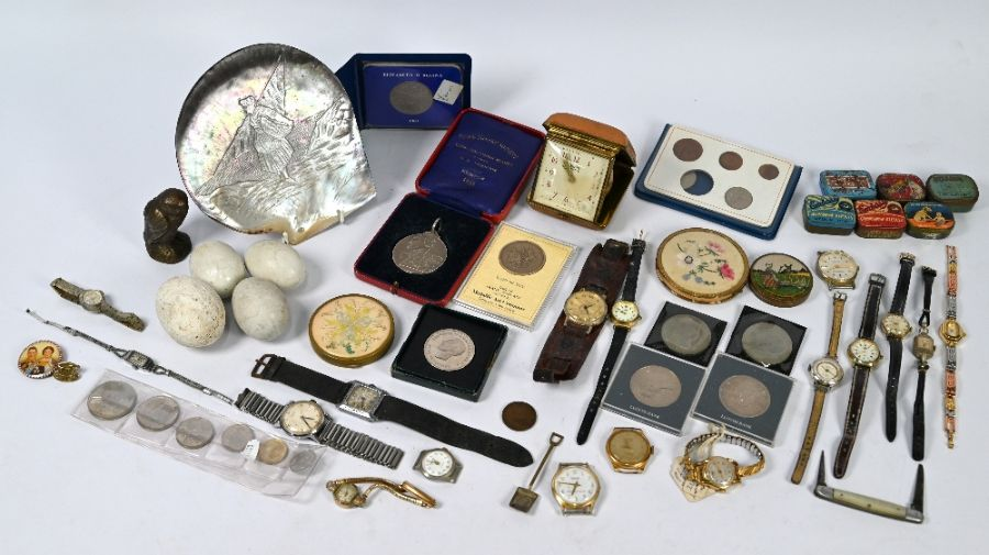 A Shire Horse Society silver medal and other items