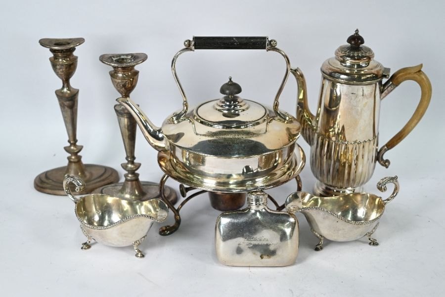 Plated on copper tankard inset with 1696 crown and other plated items - Image 4 of 4