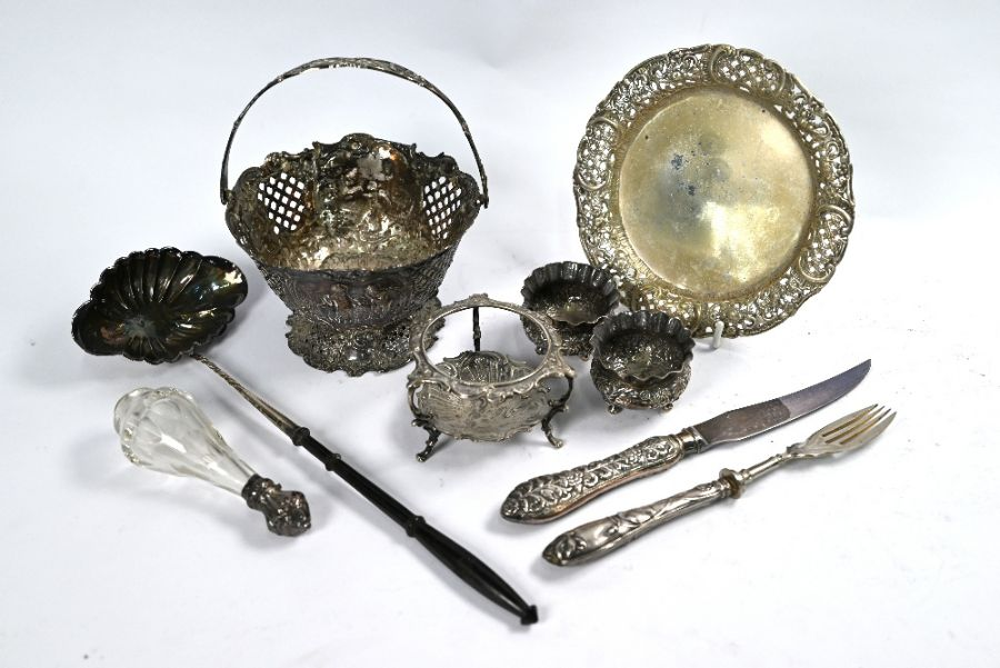Various Continental white metal items