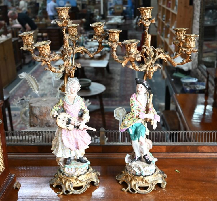 A companion pair of French ormolu mounted candelabra - Image 4 of 8
