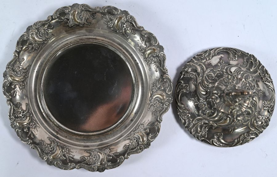 German .800 grade silver-mounted biscuit barrel on stand - Image 4 of 5
