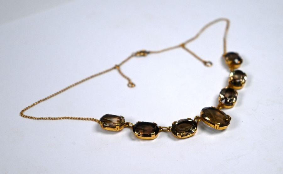 An Edwardian smokey quartz fringe necklace - Image 2 of 4