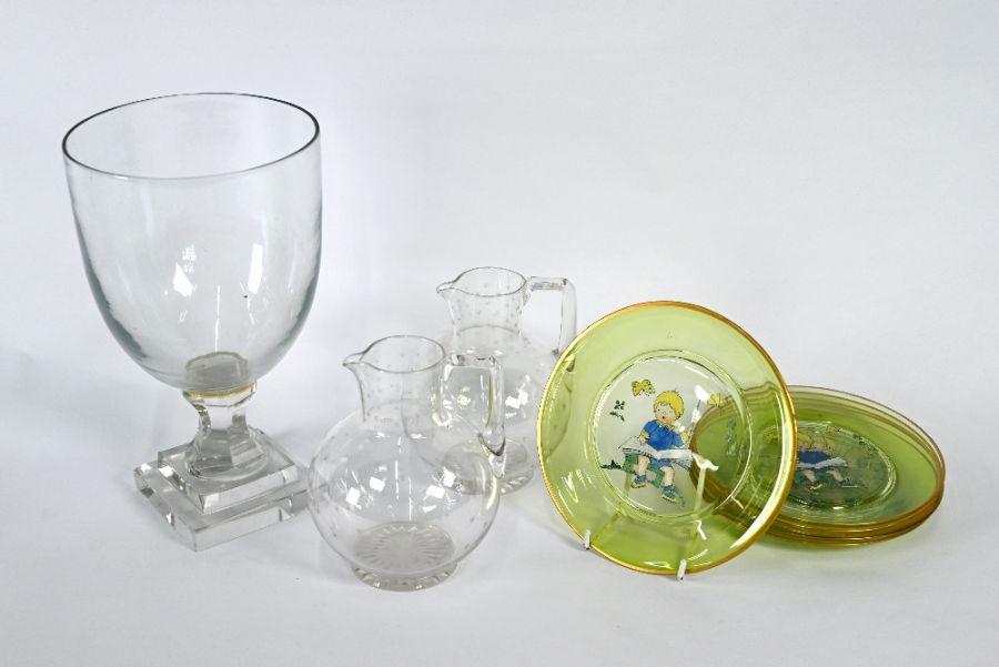 Glass goblet, jugs, nursery plates etc