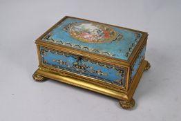 A 19th century French gilt brass casket