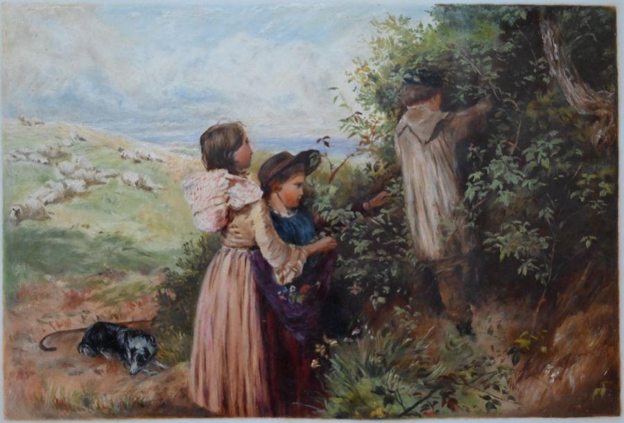 LDG landscape with children - oil on card