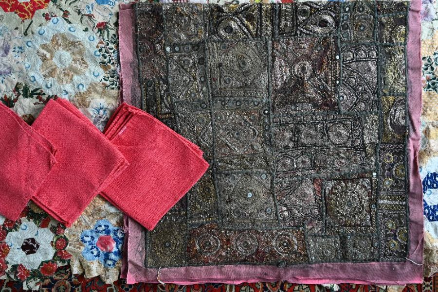 An Indian Sari embroidered wall-hanging, quilt and table linen - Image 2 of 3