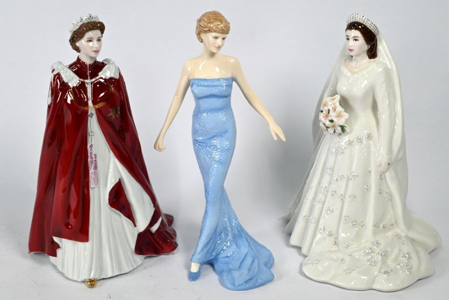 Two Royal Worcester figures HM Queen Elizabeth and Royal Doulton Diana figure - Image 2 of 4