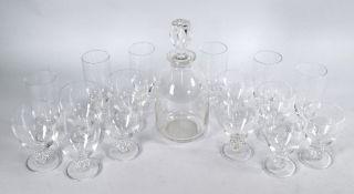 A Lalique glass part set of six champagne flutes