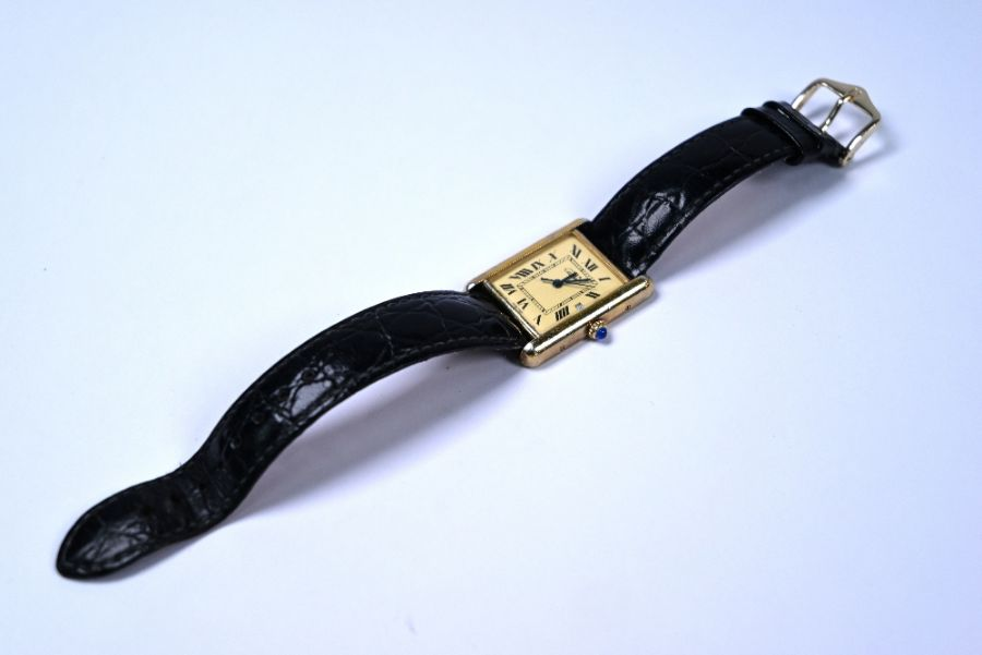 Silver gilt Must de Cartier 'Tank' wristwatch