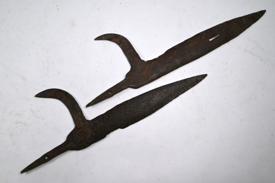 Two antique forged iron halberd blades