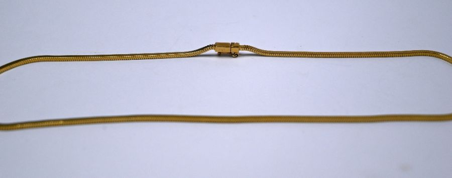 A yellow gold square snake link necklace - Image 2 of 2