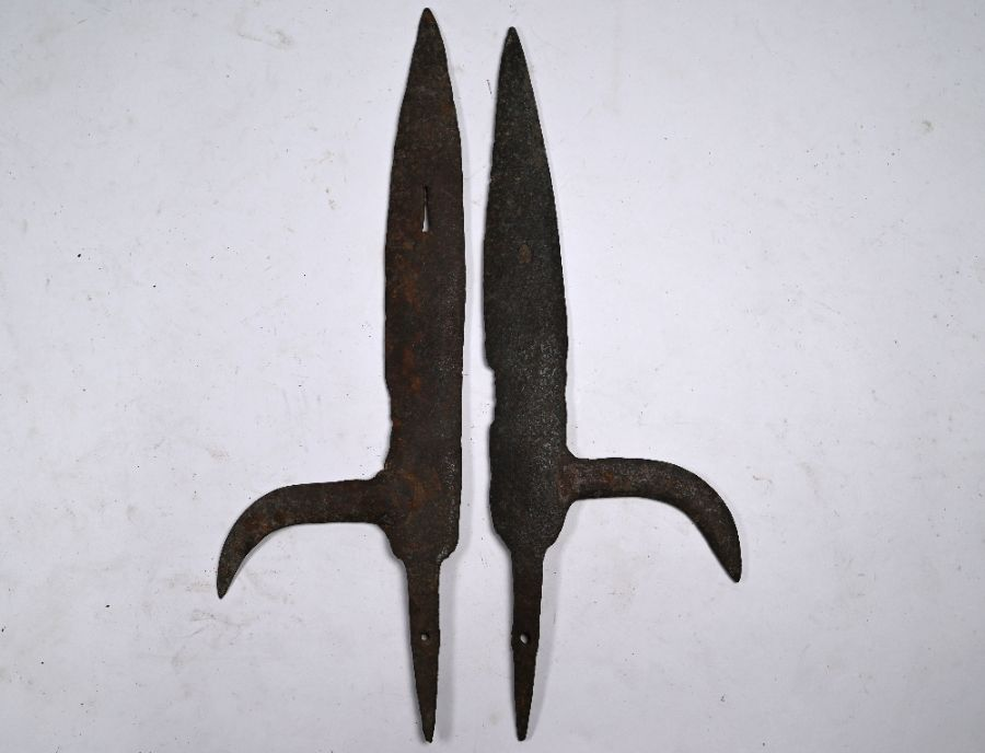 Two antique forged iron halberd blades - Image 2 of 2
