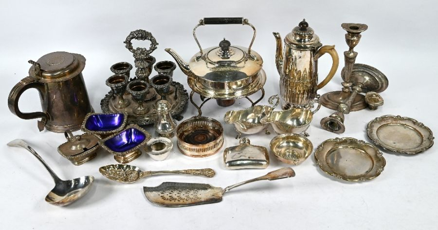Plated on copper tankard inset with 1696 crown and other plated items - Image 2 of 4