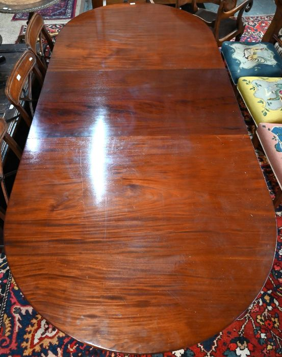 Victorian mahogany twin pedestal 'D' end dining table with extra leaf - Image 4 of 4