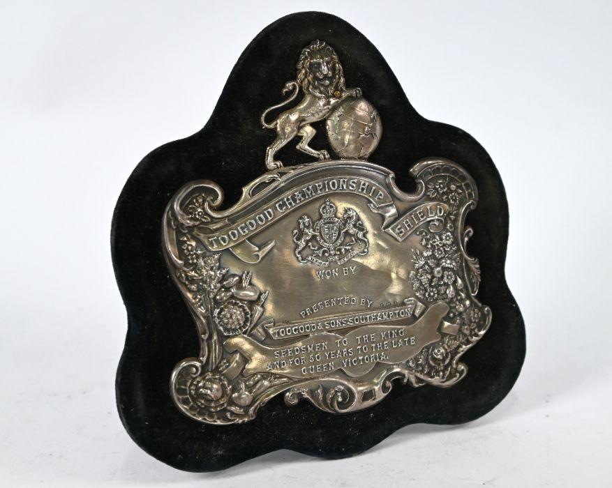 Edwardian silver-mounted trophy shield
