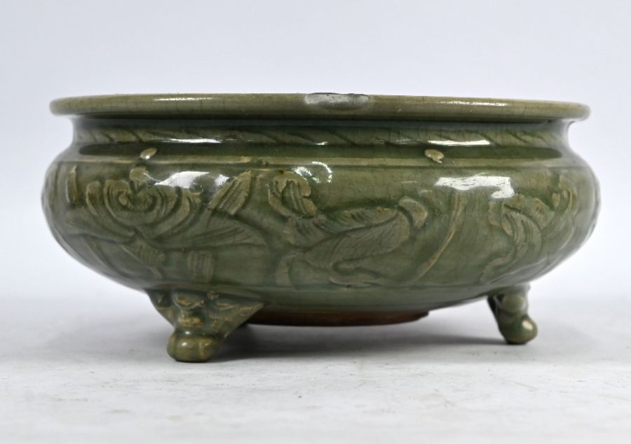 A Chinese celadon tripod censer, Ming dynasty (1368-1644) - Image 2 of 4
