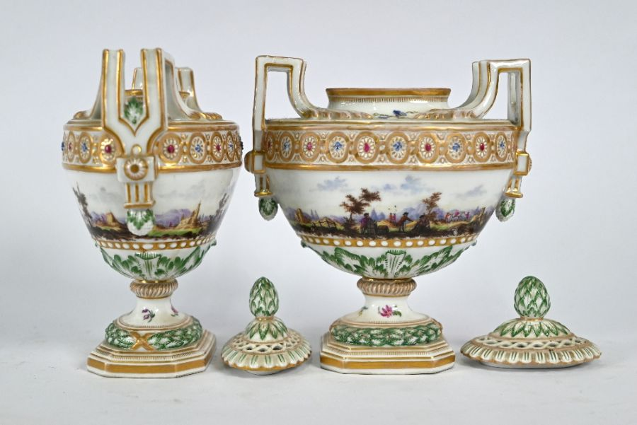 A pair of 19th century Meissen oval urns and covers - Image 2 of 4