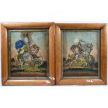 Two Victorian maple-framed 'tinsel' pictures