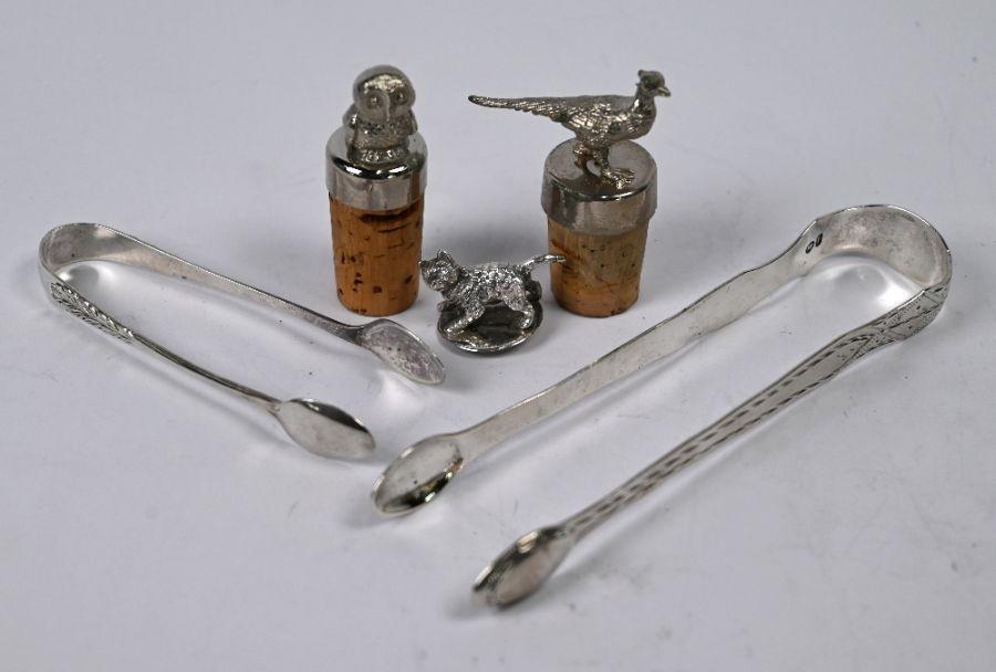 George III bright-cut silver sugar tongs, etc.