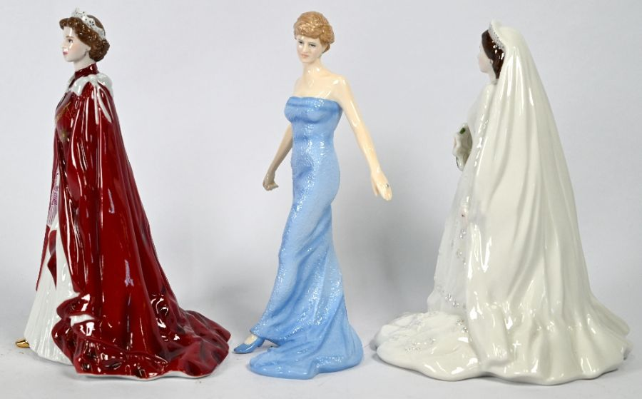Two Royal Worcester figures HM Queen Elizabeth and Royal Doulton Diana figure - Image 3 of 4